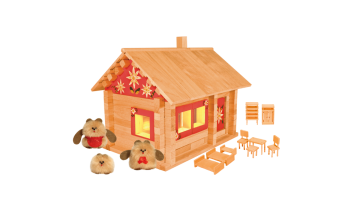 Конструктор Избушка три медведя с куклами, мебелью, росписью и электропроводкой