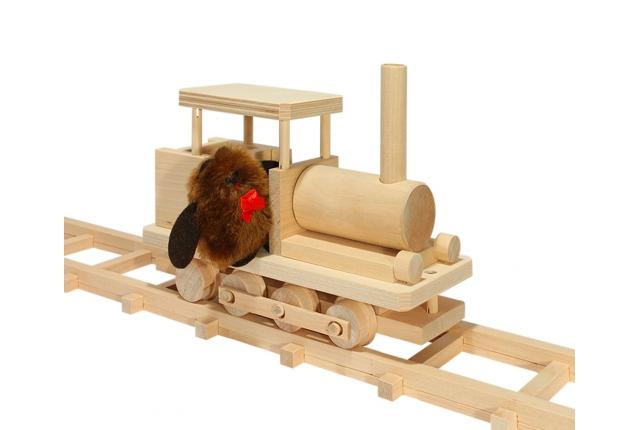 Конструктор Деревянная рельсовая дорога №2 паровоз с куклой