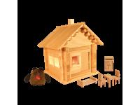 Конструктор Избушка теремок с куклами, мебелью и электропроводкой