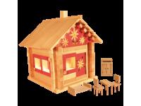 Конструктор Избушка теремок с мебелью, росписью и электропроводкой